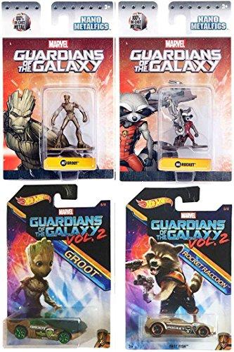 Marvel Costume Nebula (Marvel Guardians of the Galaxy Vol. 2 Groot Hot Wheels Cars Movie Exclusive set + Metal Mini Figures Rocket Raccoon & Groot Collectible Die-Cast bundle)
