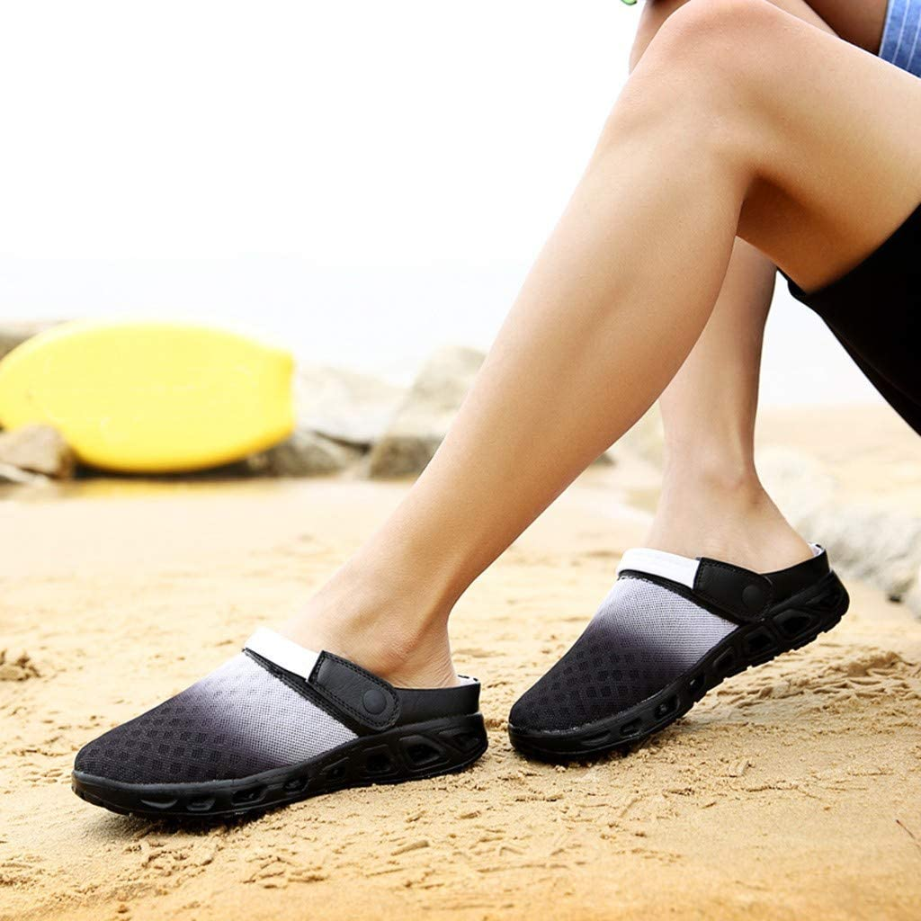 Nebwe Sandals Hole Sports Shoes Summer Men Gradient Color Mesh Shoes Breathable Slippers Beach Summer