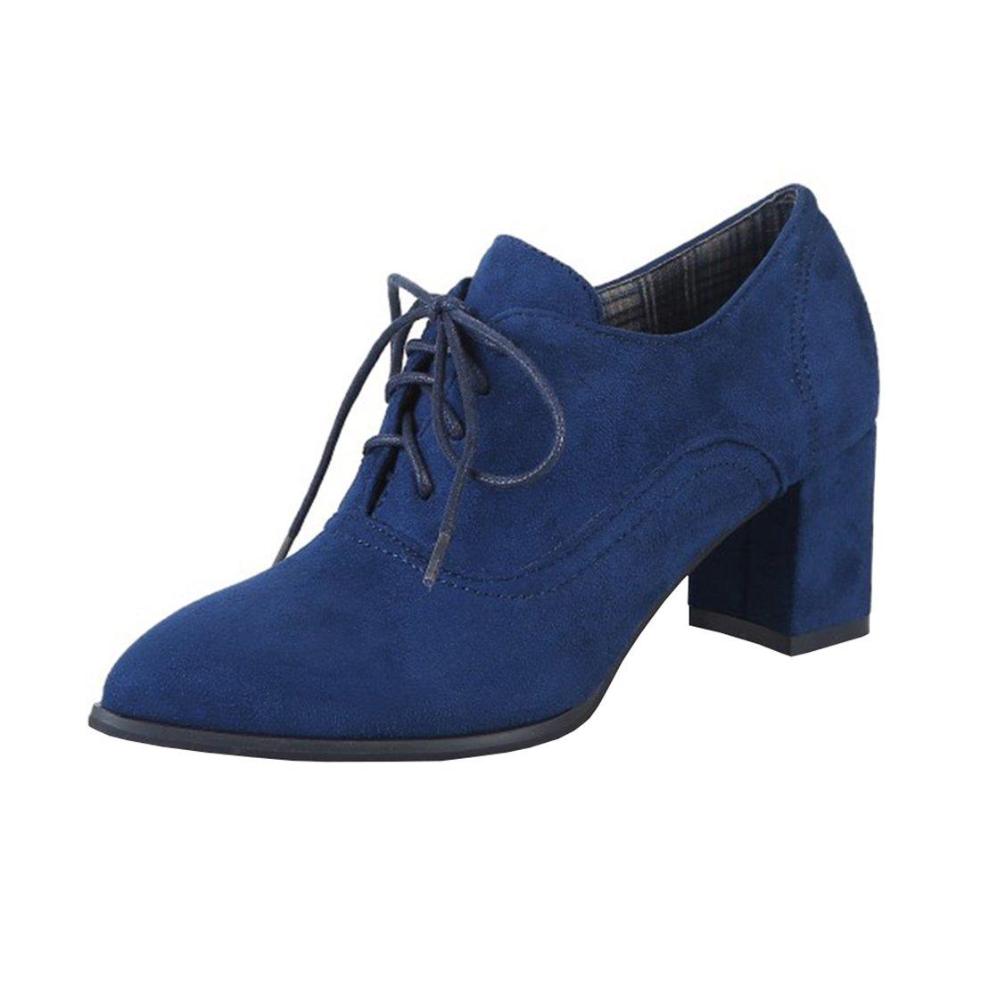 Agodor Damen High Heels Ankle Boots mit Schnürung und Blockabsatz Bequem 6cm Absatz Elegant Pumps Schuhe  34 EU|Blau