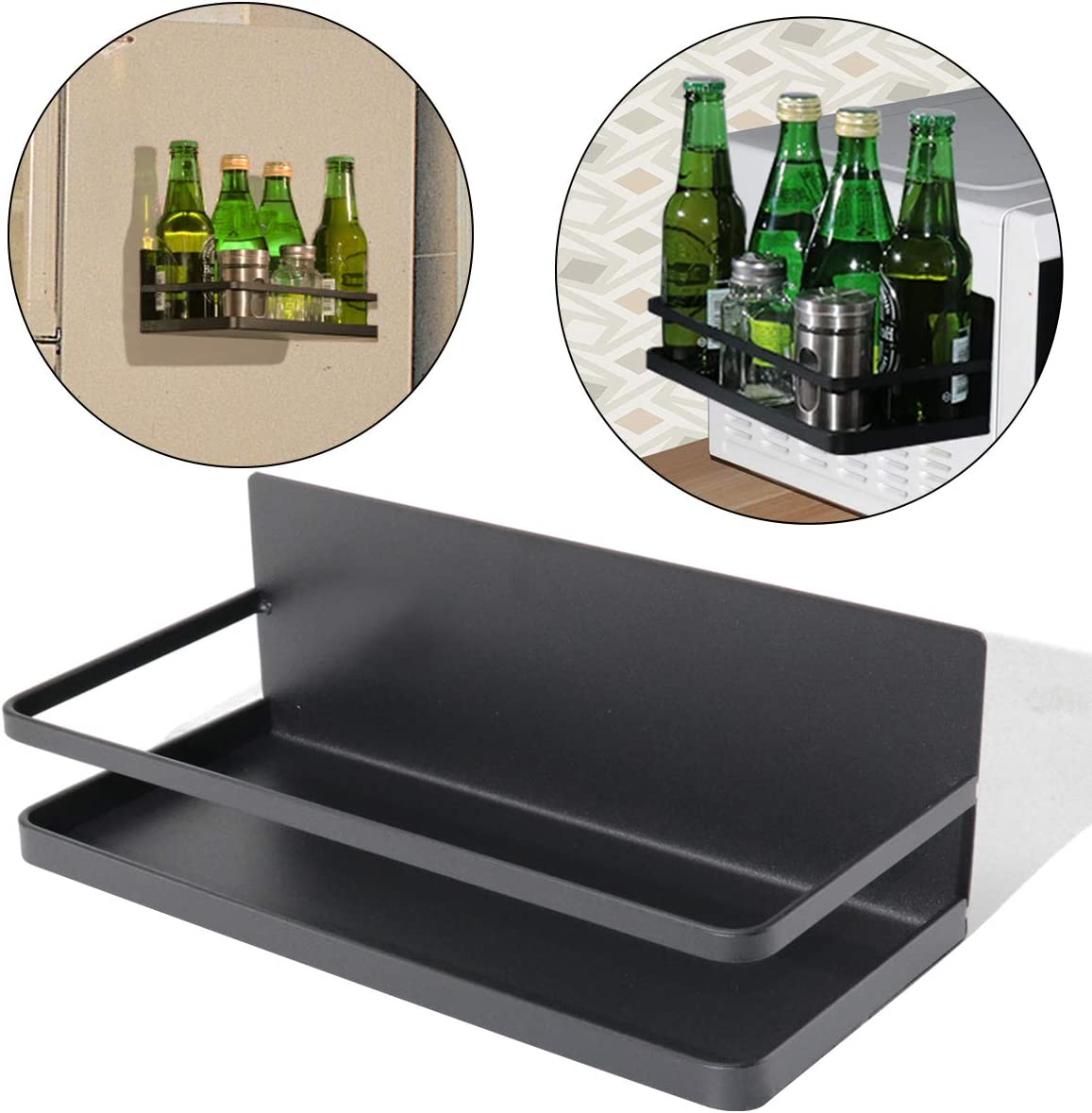 Boeray Magnetic Fridge Spice Rack Refrigerator Organizer Rack Single Tier Kitchen Magnetic Side Shelf for Storage Spices Olive Oil Sauce Salt Pepper Towel Black
