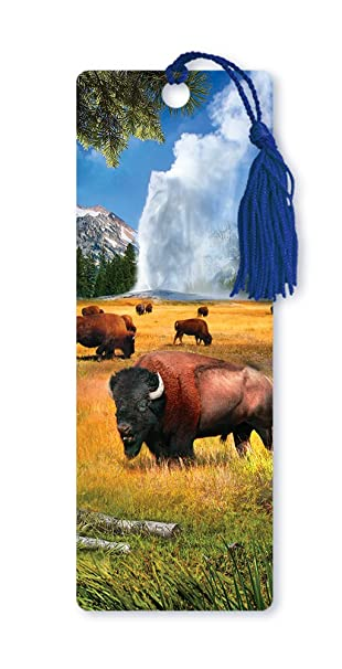 Dimension 9 3d Lenticular Bookmark With Tassel Yellowstone National Park Featuring Old Faithful Geyser And Bison Lbm114