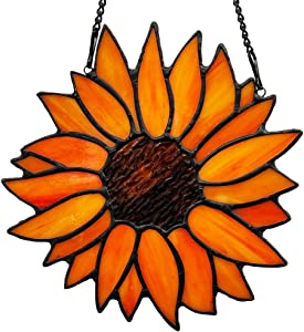 """HAOSUM Sun Flower Tiffany Style Stained Glass Window Hangings Panel For Home Decor Gift For mom ,friends 5.3""""×6.2"""""""