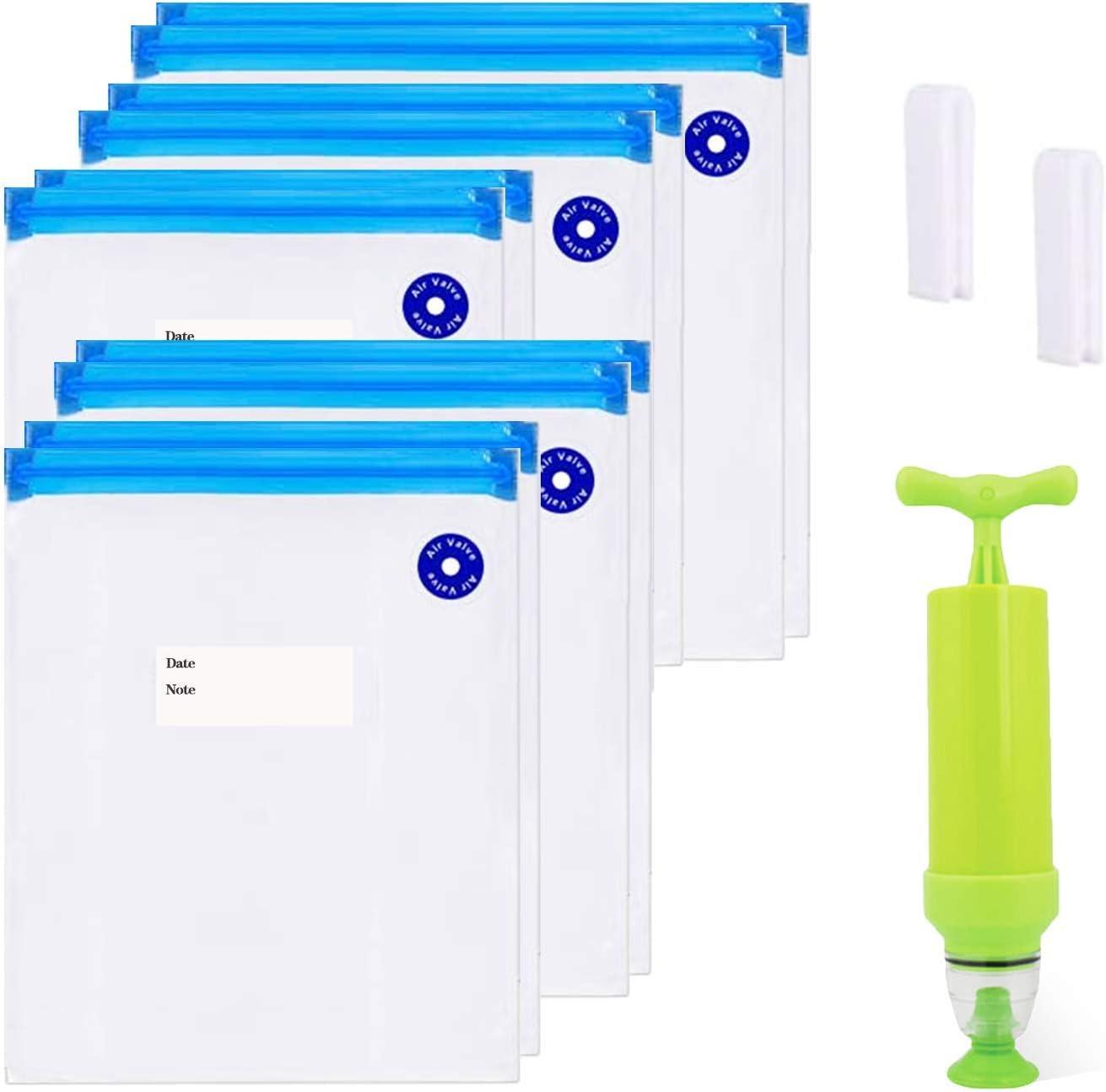 Vacuum Sealer & 10 PCS Reusable Vacuum Food Storage Bags, Reusable Vacuum Sealer Bags, Vacuum Sealer Set for food preservation
