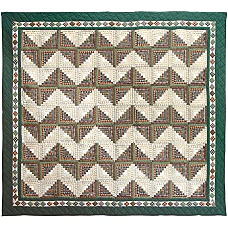 Patch Magic King Peasant Log Cabin Quilt 105 Inch By 95 Inch
