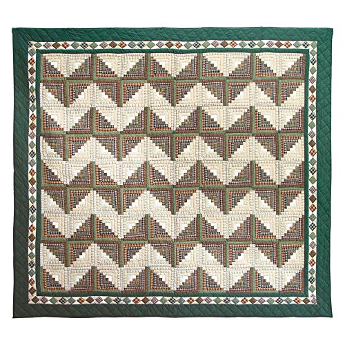Patch Magic Queen Peasant Log Cabin Quilt, 85-Inch by 95-Inch - Log Cabin Throw Quilt