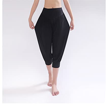 da1994318a2 Amazon.com   ECYC Women Yoga Bloomers Dance TaiChi Loose Capri Pants ...