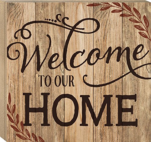 Welcome to Our Home 17 x 18 Wood Boxed Pallet Wall Art Sign Plaque (To Decor Home Welcome Our)