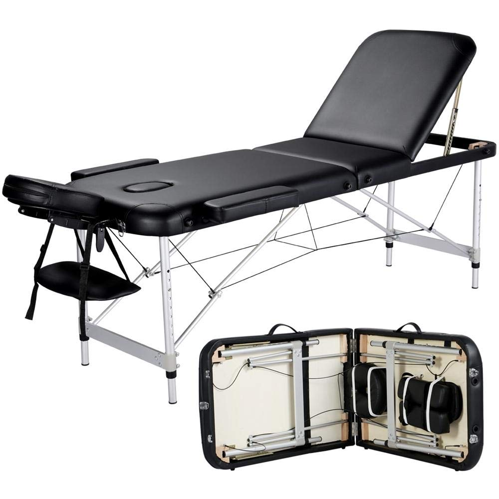 Yaheetech Massage Table Portable Massage Bed 3 Folding 84 Inch Aluminium Frame Lightweight Height Adjustable Salon Spa Table with Carry Case – Black