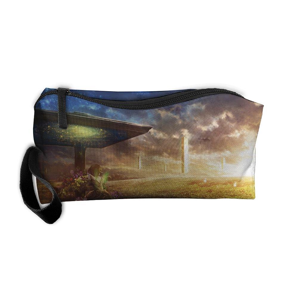 homlifeポータブルトラベルコスメティックToiletryクラッチバッグオーガナイザーケースオックスフォードファンタジー風景芸術的画像ストレージポーチ   B07DZSVTBJ