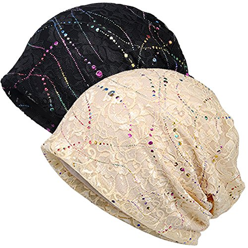 Butterfly Embroidered Beanie - Womens Cotton Beanie Lace Turban Soft Sleep Cap Chemo Hats Fashion Slouchy Hat (2pack Black+Beige lace)