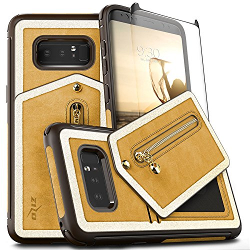 Samsung Galaxy Note 8 Case, Zizo Nebula Wallet Case w/[Curved Full Glass Screen Protector] Zipper Pouch-Slim Folio w/Card Slots and Magnetic Closure
