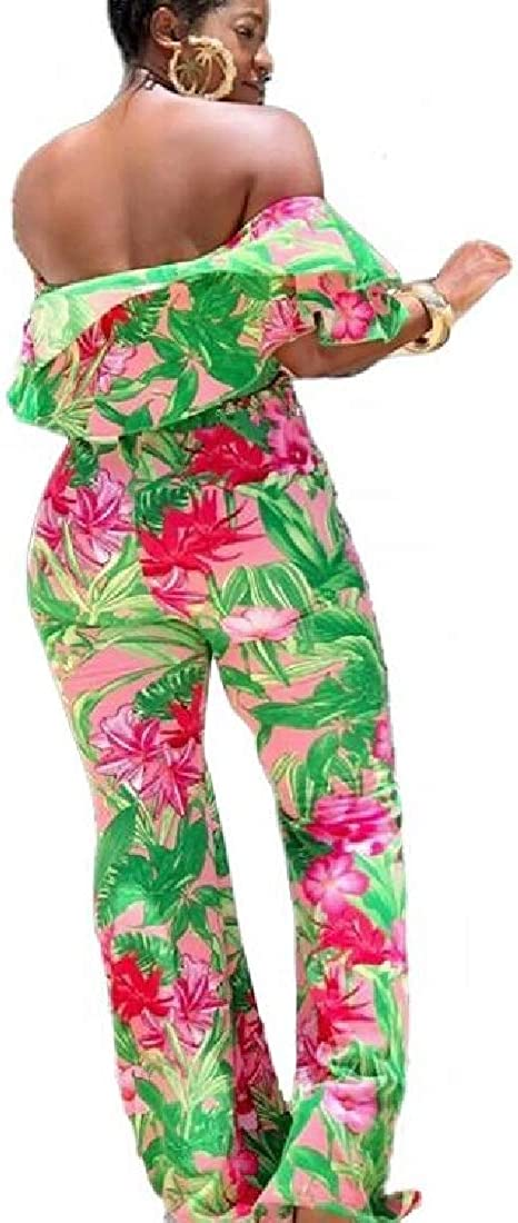 pipigo Women Shoulder Off Wide Leg Ruffle Floral Print Basic Romper Jumpsuits