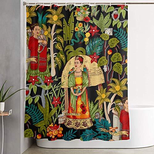 Mars Sight Home Decor Bohemian Shower Curtain,Frida's Garden Fabric Bathroom Decor Set with Hooks,Polyester Fabric Waterproof Shower Curtain for Bathroom (6072inch)