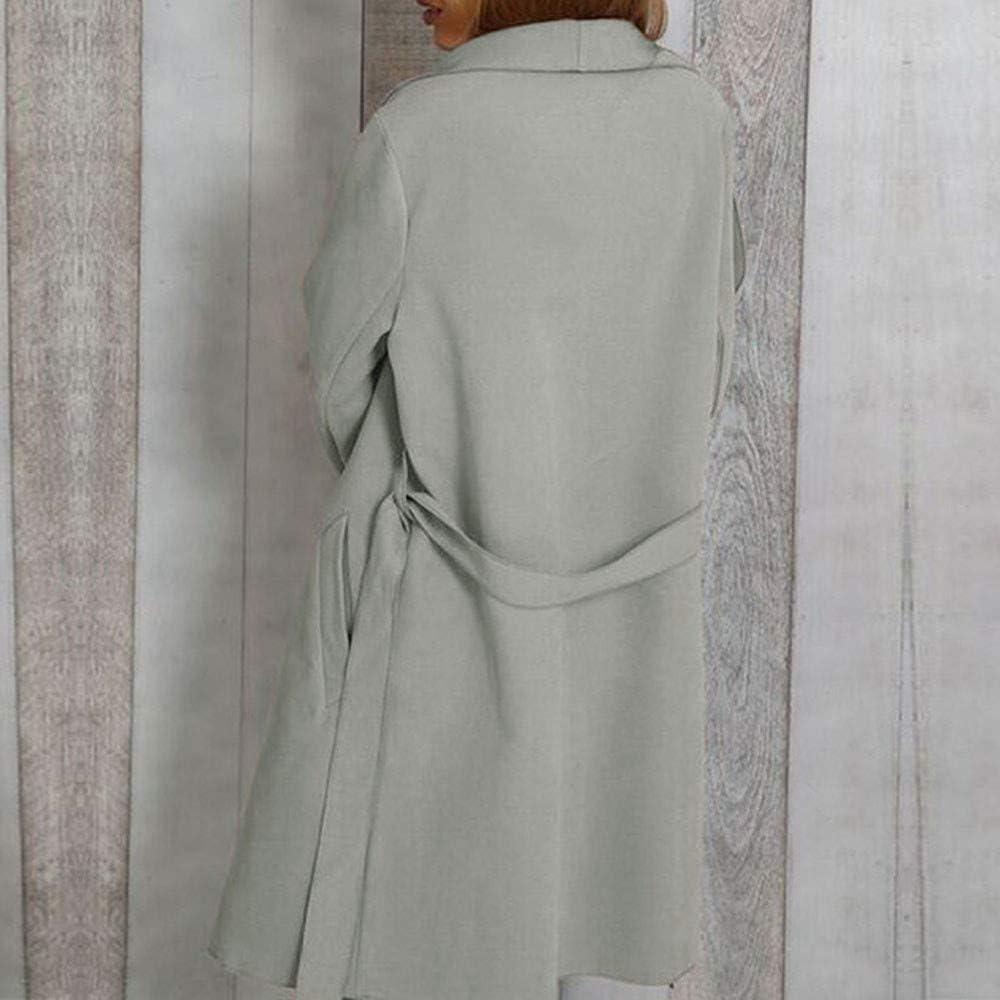 Hengshikeji Women Long Jacket Outwear,Womens Casual Open Front with Belt Waterfall Collar Pocket Wrap Ponchos