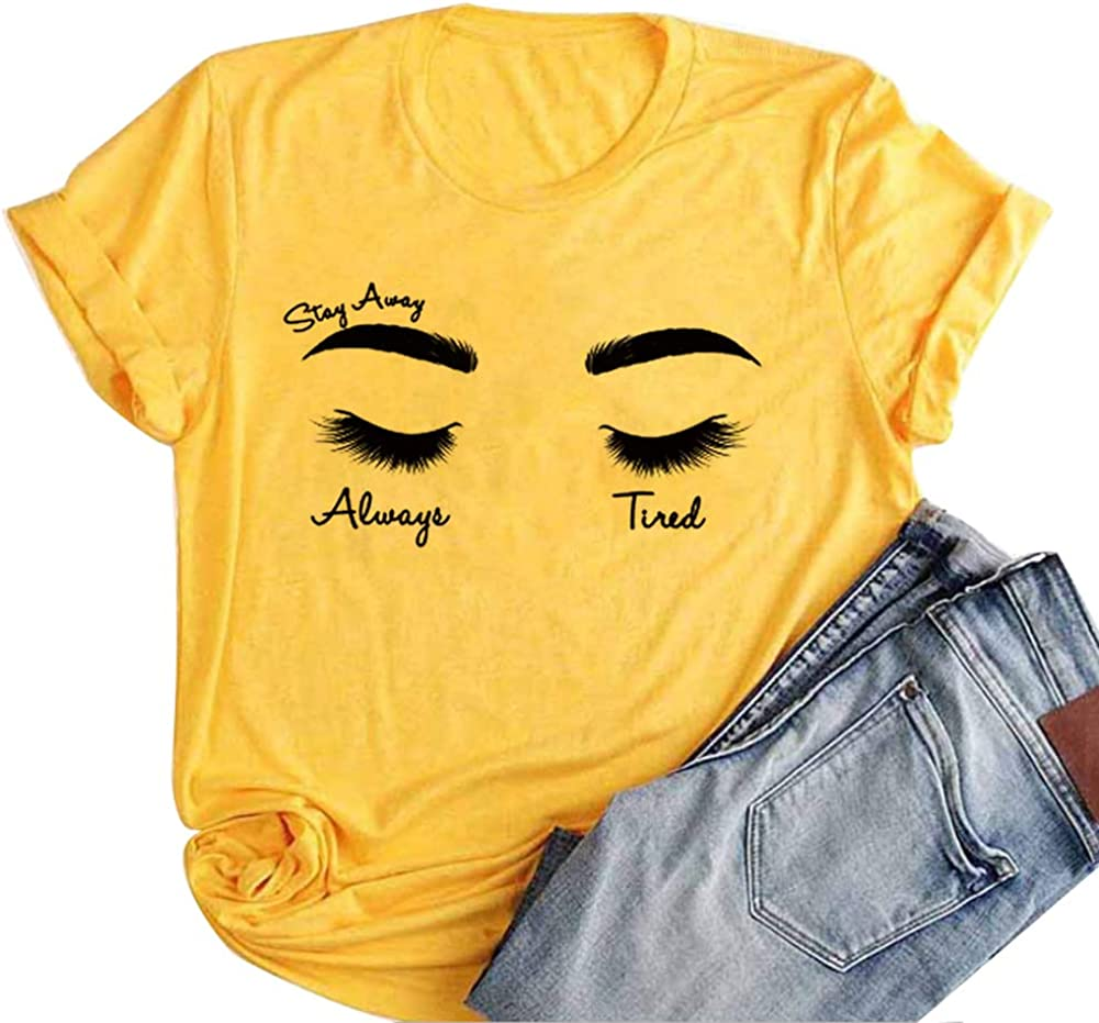 Woxlica Girls Always Tired Mom Shirt Cotton Posty Shirt Music Tee