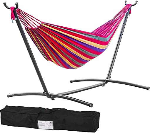 TechFaith Double Hammock Two Person Adjustable Hammock Bed with Space Saving Steel Stand Includes Portable Carrying Case, Easy Set Up Tropical