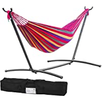 Double Hammock Two Person Adjustable Hammock Bed with Space Saving Steel Stand Includes Portable Carrying Case, Easy Set Up