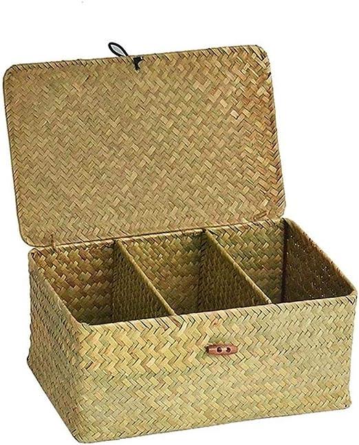 Leo565Tom Caja de almacenamiento con tapa con tres compartimentos ...