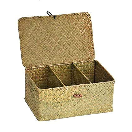 Leo565Tom Caja de Almacenamiento con Tapa con Tres Compartimentos Tejidos a Mano Paja Escritorio Cesta de