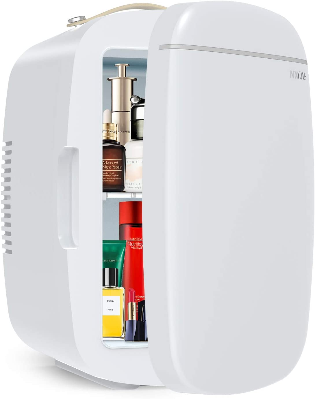 NXONE Mini Fridge, 6 Litres Cooler Warmer and Compact Refrigerator with AC/DC Power, Portable Makeup Skincare & Cosmetics Fridge Great for Bedroom, Office, Car, Dorm, White