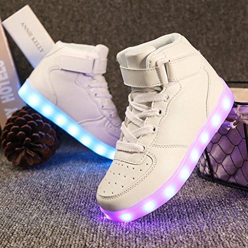 D'espadrille Plus Charge Hommes Dogeek Femmes Sport choisir Blanc Couleur Taille Une Grande Lumineux Conduit De 7 Chaussures haut Usb Haut Pour 8qaXaA