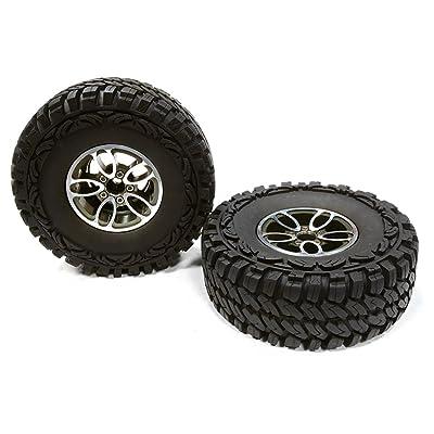 Integy RC Model Hop-ups C26170GUN Billet Machined 5 Spoke DU 1.9 Wheel & Tire(2) for 1/10 Scale Crawler O.D.=113mm