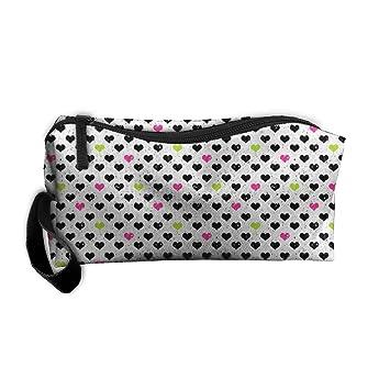 60a0b22b1f2c Amazon.com : Black Love Heart Zipper Bag Travel Cosmetic Bag Men's ...
