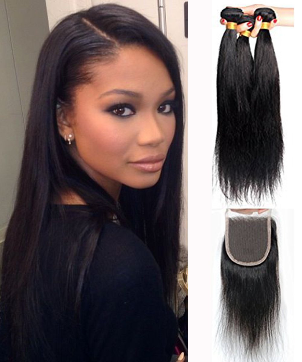 Amazon Mike Mary Brazilian Straight Hair Weaves With Lace
