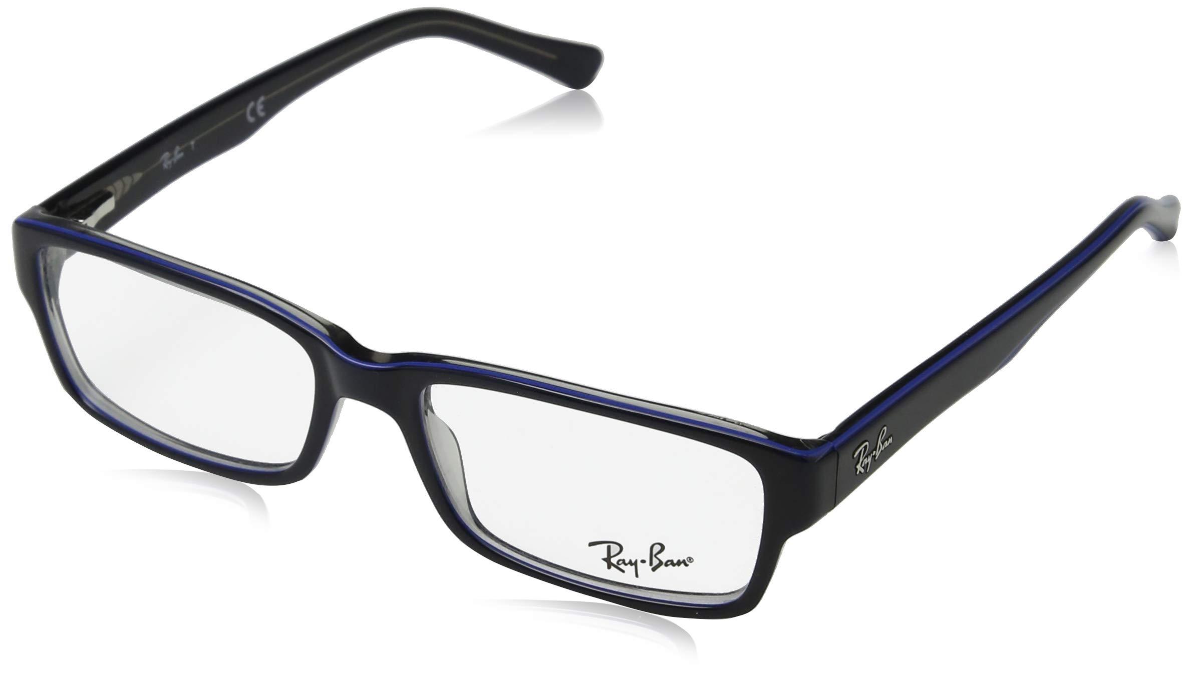 Ray-Ban RX5169 Rectangular Eyeglass Frames, Blue on Grey/Demo Lens, 52 mm