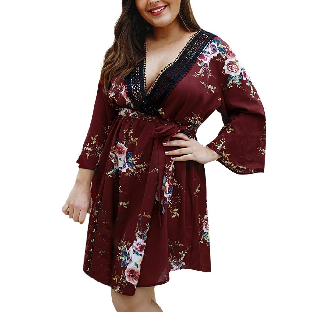 SMILEQ® Plus Size Damen Floral V-Ausschnitt Wrap Low Cut Kleid Damen Bell Sleeve Sommerkleid