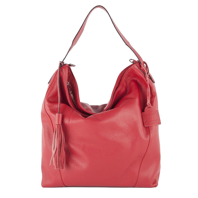 Handbag, Fulvia red,?Leather, Dimensions in cm: 43 l x 30 h x 13 p, Anna Cecere