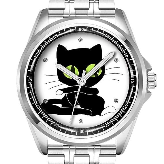 Reloj de Pulsera Personalizado para Hombre, a la Moda, Resistente al Agua, Diamond_189, Reloj de Gato Negro: Amazon.es: Relojes