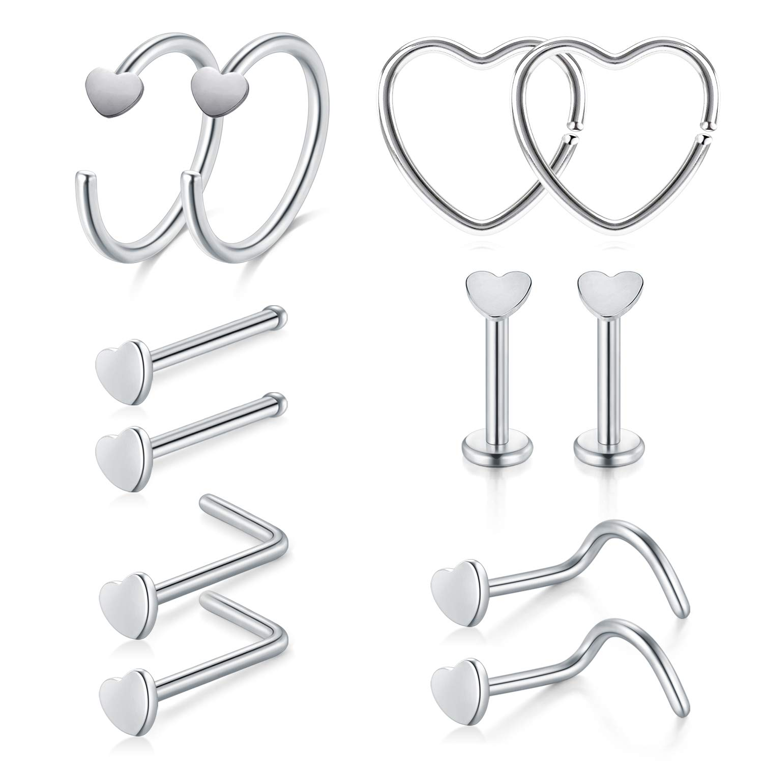 Vcmart 22g 316l Stainless Steel Nose Rings Hoop Tragus Cartilage