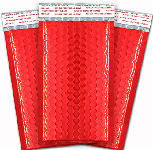 PREMIUM Padded Envelopes With Anti Moisture For Global Shipping, Packaging, Tamper Resistant With Labels (4x8, Pack Of 50), Red