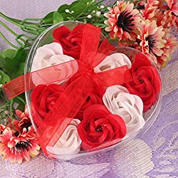 Gotd 9pcs Bath Body Flower Heart Favor Soap Rose Petal Wedding Decoration Party Birthday Gift (Red)