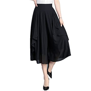 0c7997d809063 Xiafeimantian Womens Classic Skirts Pants Loose Fit Chiffon Wide Leg ...