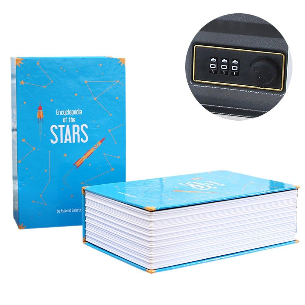 Miniホームセーフキッズ用、3桁の組み合わせパスワードコードBook Secret保存ポットストレージボックスBookパスワードセキュリティボックスクラフト 11.5*18*5.5cm ブルー B07BS573PH ブルー ブルー