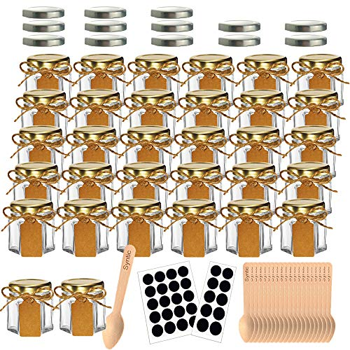 Syntic 32 Pcs 1.5 oz Hexagon Jars/Glass Jars with Gold Lids, Small Mason Jars for Wedding, Party Favors, Extra 13 Silver Lids, Chalkboard Labels, Tag String, 30 Disposable Wooden Spoons Included (Favors Mason Jar Small)