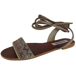 Steve Madden Womens Shaney Tie Up Flat Beaded Sandal Shoes, Blush Multi, US 5.5