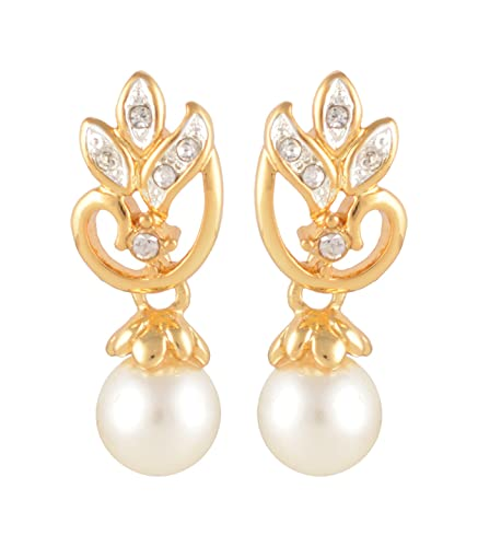 e33dc4e58e0f1 Buy Estelle 24 Ct Gold Plated Flower Drop Pearl Earring set with ...