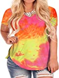 ROSRISS Plus Size Tops for Women Summer Tie Dye T Shirts