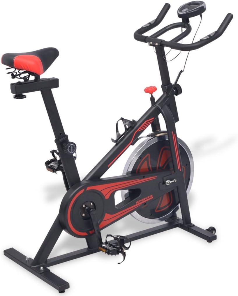 Festnight Bicicleta de Spinning con Sensores Negra y roja: Amazon ...