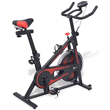 Festnight- Bicicleta de Spinning con Sensores Negra y roja