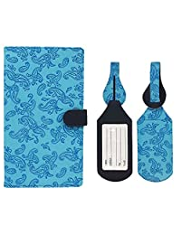 JAVOedge Embossed Paisley Long RFID Blocking Passport Case with Pen Holder and 2 Matching Luggage Tags (Sky Blue)
