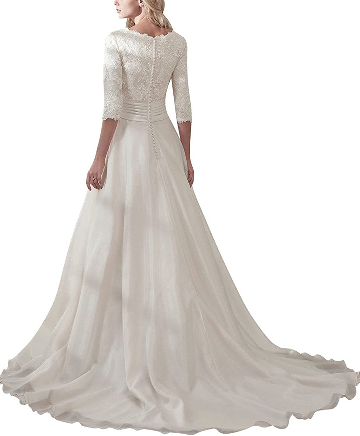 Lace Wedding Dress V Neck Bridal Dresses Aline Bridal Gowns Long Wedding Gowns At Amazon Women S Clothing Store
