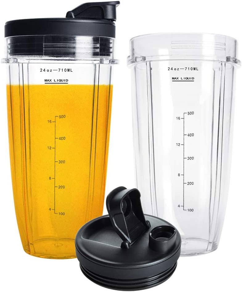 Nutri Ninja 24OZ Replacement Parts,QT 2Packs Nutri Ninja Replacement Cups With Sip & Seal Lids,710ML(24oz) Measuring Scale Cup Mug, FIT FOR Nutri ...