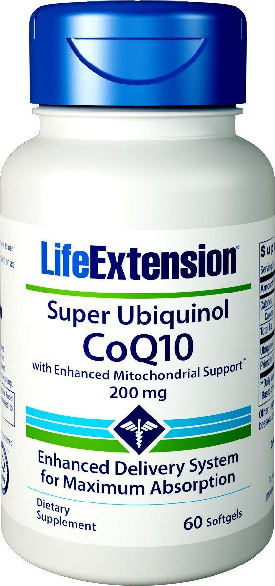 Life Extension Super Ubiquinol COQ10 with Enhanced Mitochondrial Support 200 mg Softgels, 60 Count