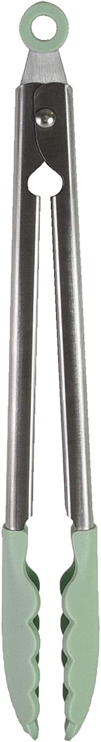 KitchenAid Gourmet Silicone-Tipped Stainless Steel Tongs, One Size, Pistachio
