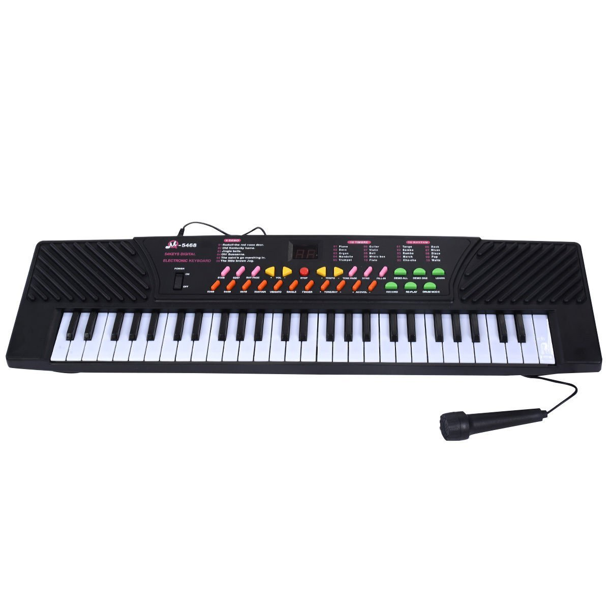 Mascarello® 54 Keys Music Electronic Keyboard Kid Electric Piano Organ W/Mic & Adapter