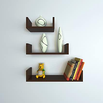 7c31e0c229 DecorNation Floating Wall Shelf - Set of 3 'U' Shape MDF Wall Racks -  Brown: Amazon.in: Home & Kitchen